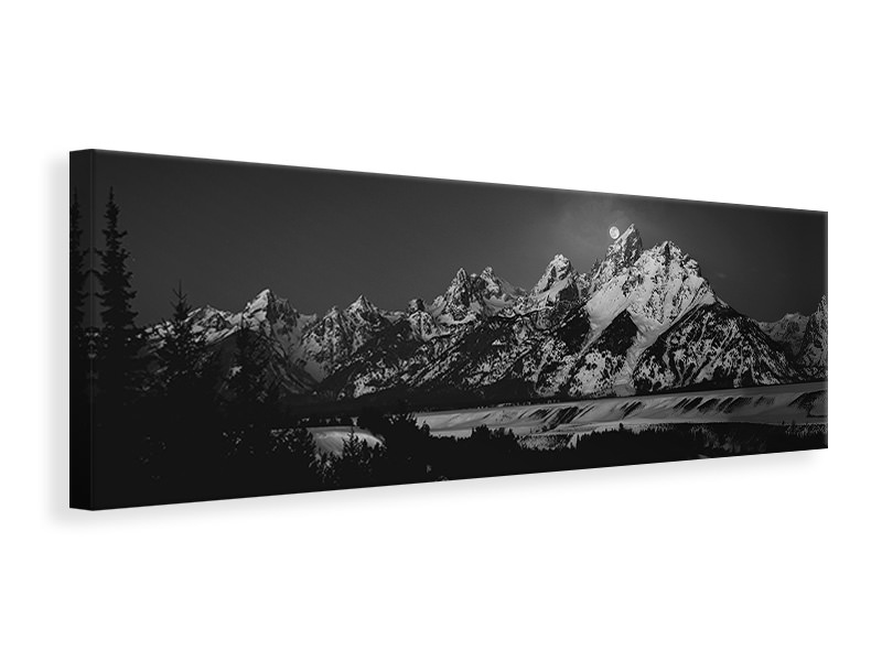 Panoramic Canvas Print Full Moon Sets In The Teton Mountain Range