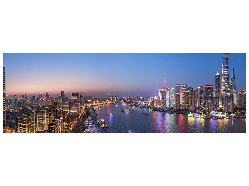 Leinwandbild Panorama The Blue Hour In Shanghai