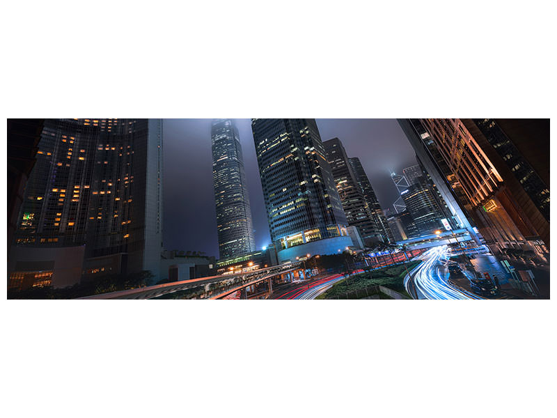 Tableau sur Toile Panoramique Hong Kong City Lights