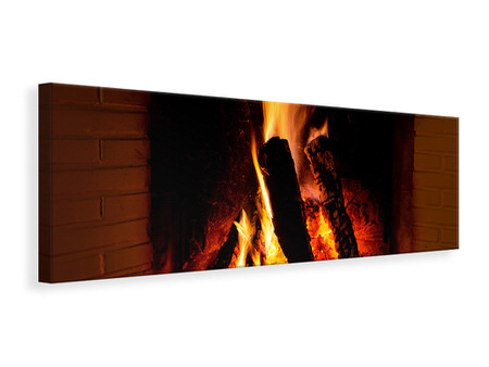 Panoramic Canvas Print Fire In The Chimney