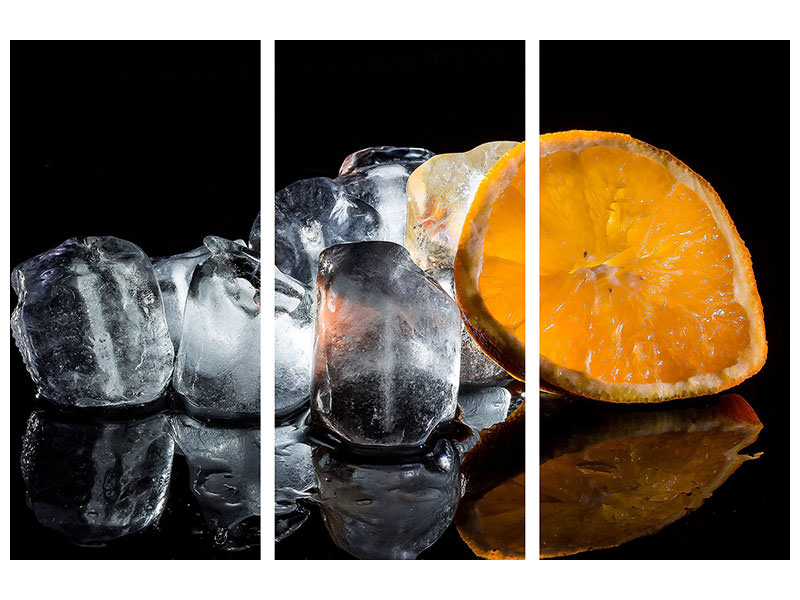 3 Piece Canvas Print Ice cubes with vitamin C