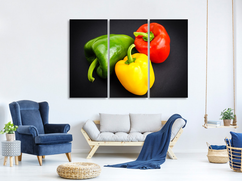 3 Piece Canvas Print Colorful peppers