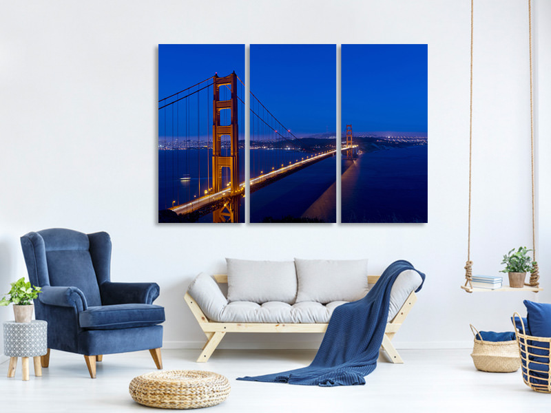 3 Piece Canvas Print Golden Gate at night