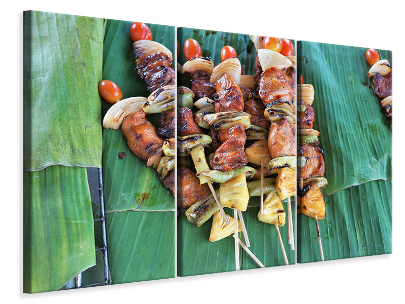 3 Piece Canvas Print Grilled meat kebab