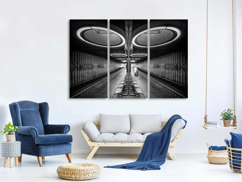 3 Piece Canvas Print Retro Metro