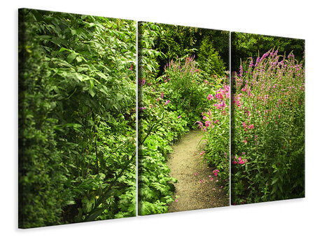 3 Piece Canvas Print Garden Path