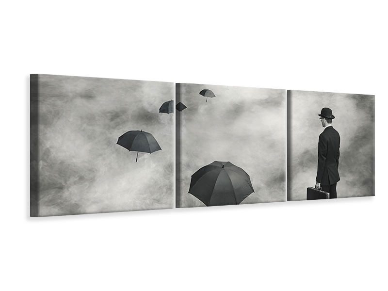 Panoramic 3 Piece Canvas Print The Road Less Traveled