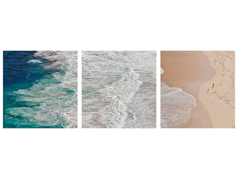 Panoramic 3 Piece Canvas Print Where The Ocean Ends