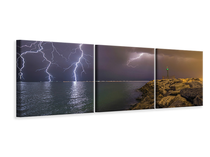 Tableau sur toile en 3 parties panoramique When Lightning Strikes