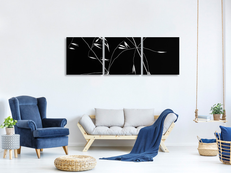 Panoramic 3 Piece Canvas Print Crossed Lines II