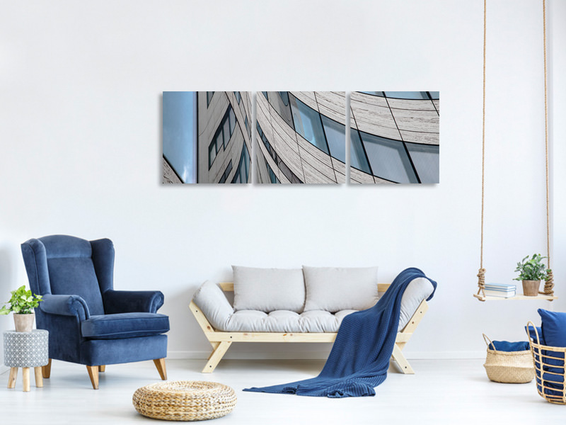 Panoramic 3 Piece Canvas Print Windows II