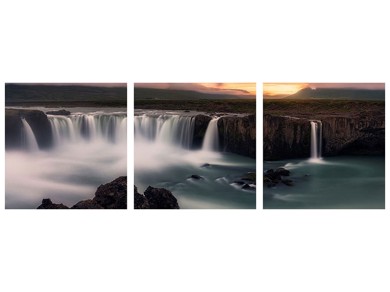 Panoramic 3 Piece Canvas Print Fire And Water II