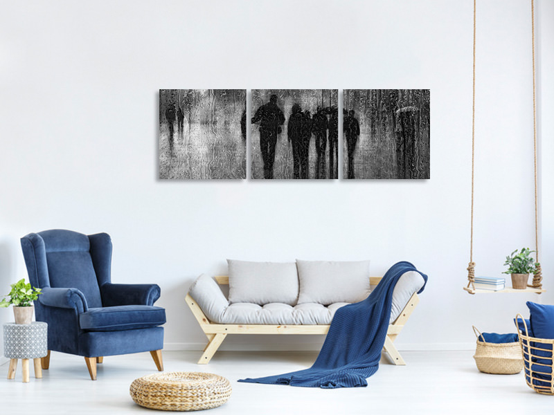 Panoramic 3 Piece Canvas Print After The Rain