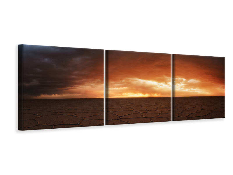 Panoramic 3 Piece Canvas Print Uyuni