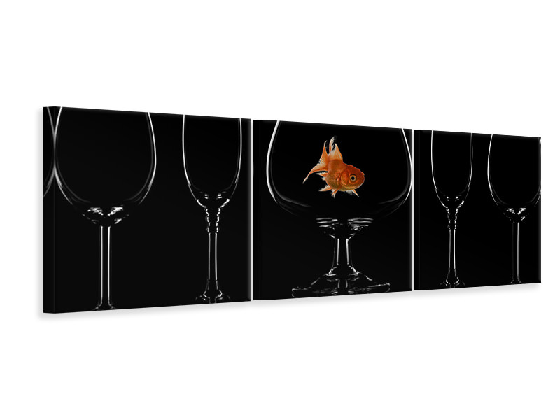 Panoramic 3 Piece Canvas Print Glass Fish