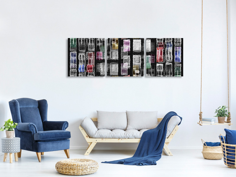 Panoramic 3 Piece Canvas Print Amsterdam 31