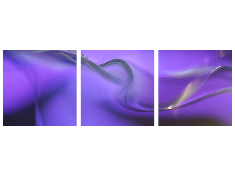 Panoramic 3 Piece Canvas Print Shapes Of Purple