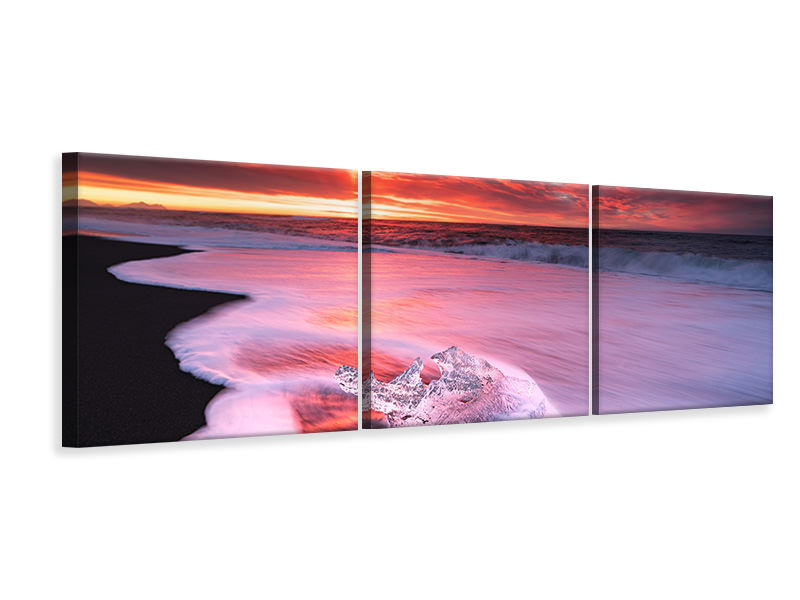 Panoramic 3 Piece Canvas Print Ice And Fire