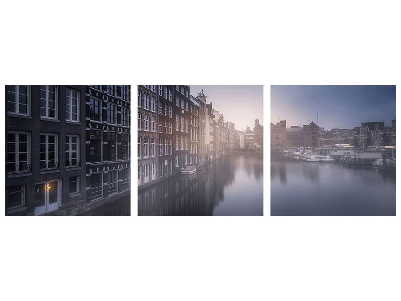 Panoramic 3 Piece Canvas Print Amsterdam Morning III