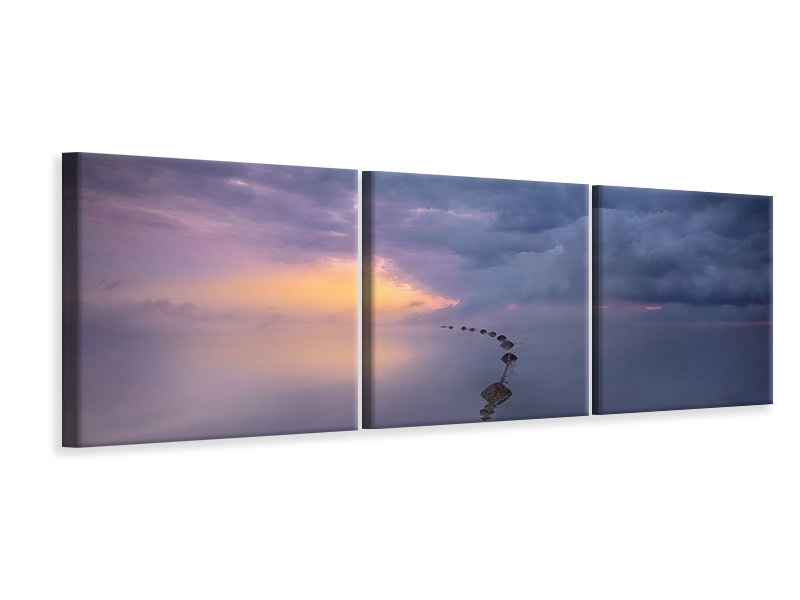 Panoramic 3 Piece Canvas Print Colorful Sunrise