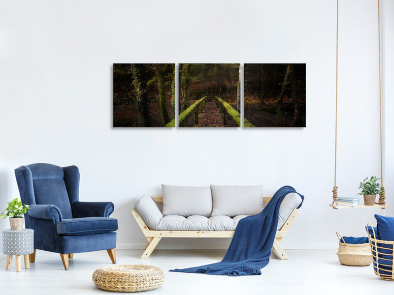 Tableau sur toile en 3 parties panoramique The Way To The Forest