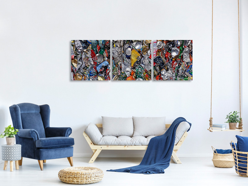 Panoramic 3 Piece Canvas Print Contemporary Art