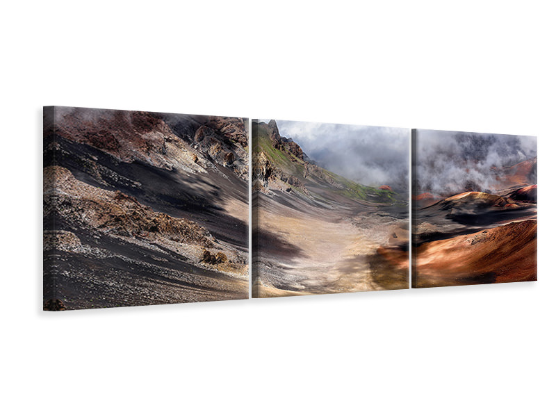 Panoramic 3 Piece Canvas Print Craters Edge