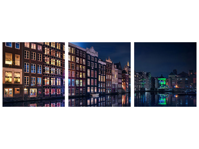 Panoramic 3 Piece Canvas Print Amsterdam Windows Colors