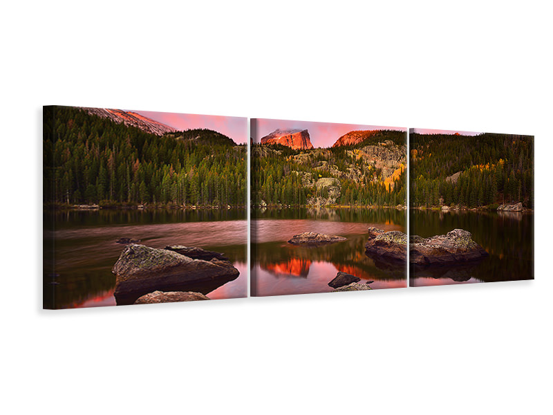 Panoramic 3 Piece Canvas Print Bear Lake Sunrise