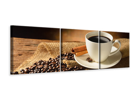 Panoramic 3 Piece Canvas Print Coffee Break