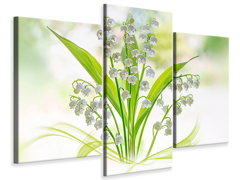 Modern 3 Piece Canvas Print Lily Of The Valley II