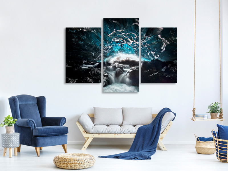 Modern 3 Piece Canvas Print Blue Glacier Cave