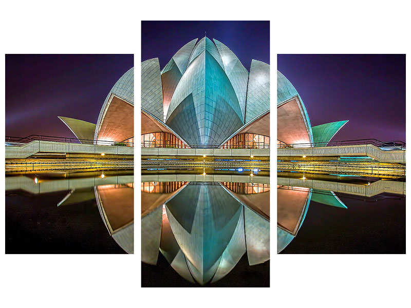 Leinwandbild 3-teilig modern The Lotus Temple