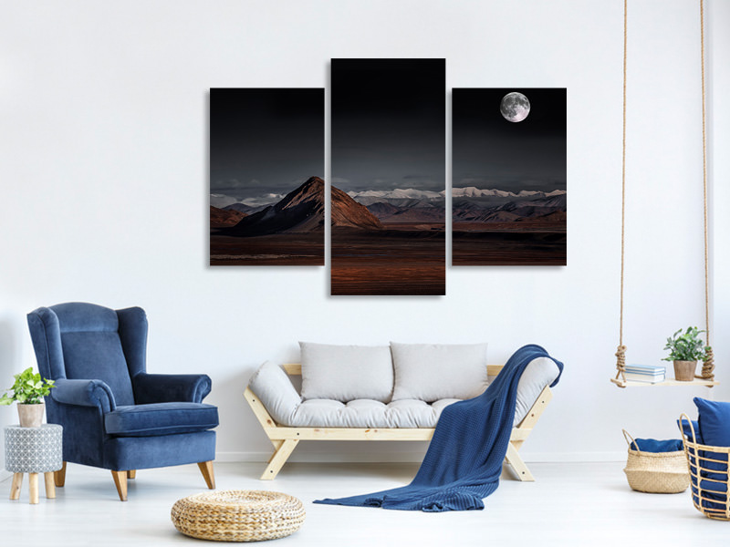 Leinwandbild 3-teilig modern Moon Night