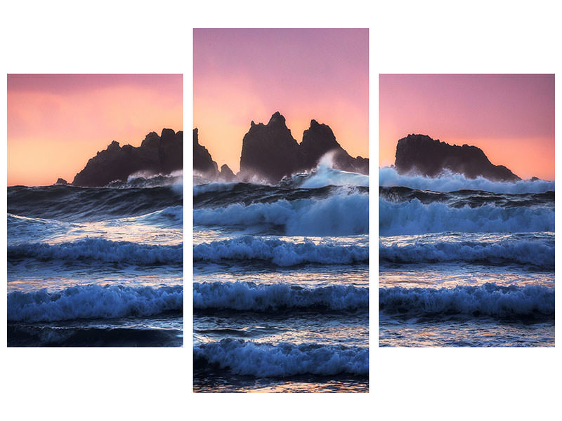 Leinwandbild 3-teilig modern Bandon Beach Layers