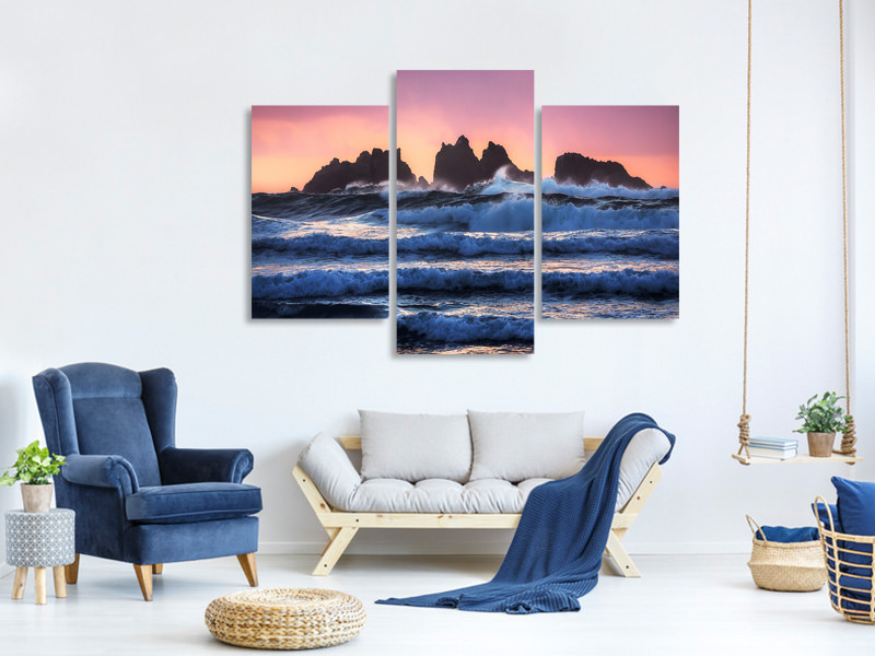 Modern 3 Piece Canvas Print Bandon Beach Layers