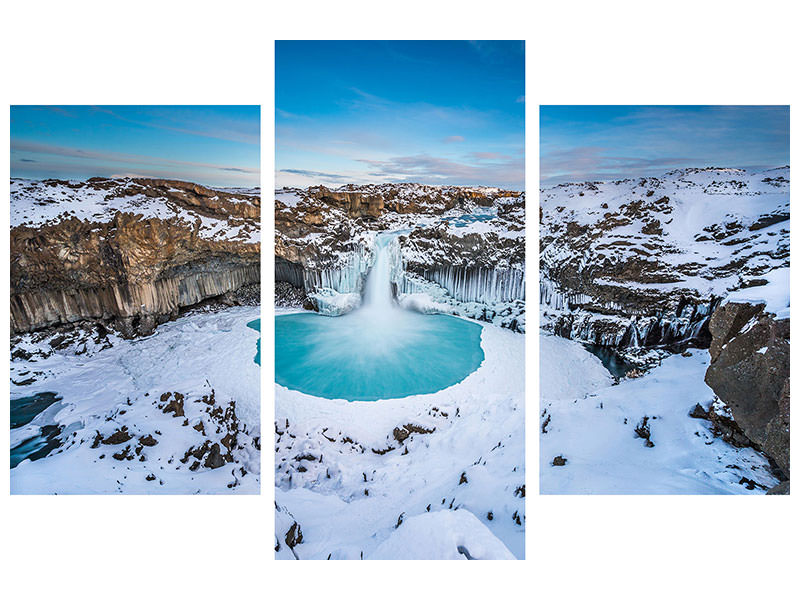 Modern 3 Piece Canvas Print Aldeyjarfoss - The Wide View