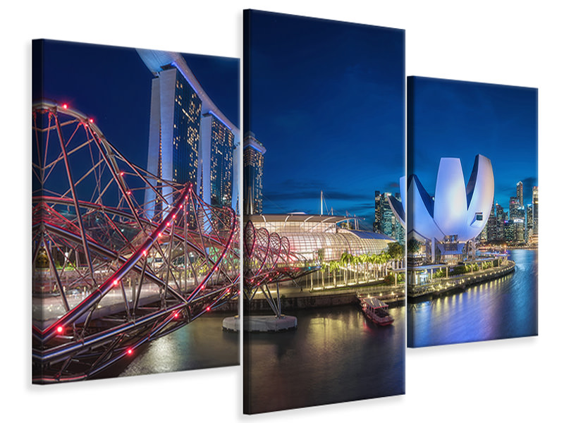 Modern 3 Piece Canvas Print Singapore - Marina Bay Panorama