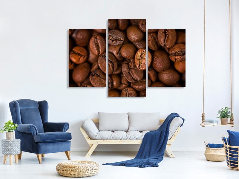 Modern 3 Piece Canvas Print Close Up Coffee Beans