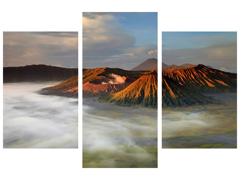 Modern 3 Piece Canvas Print The Bromo Volcano
