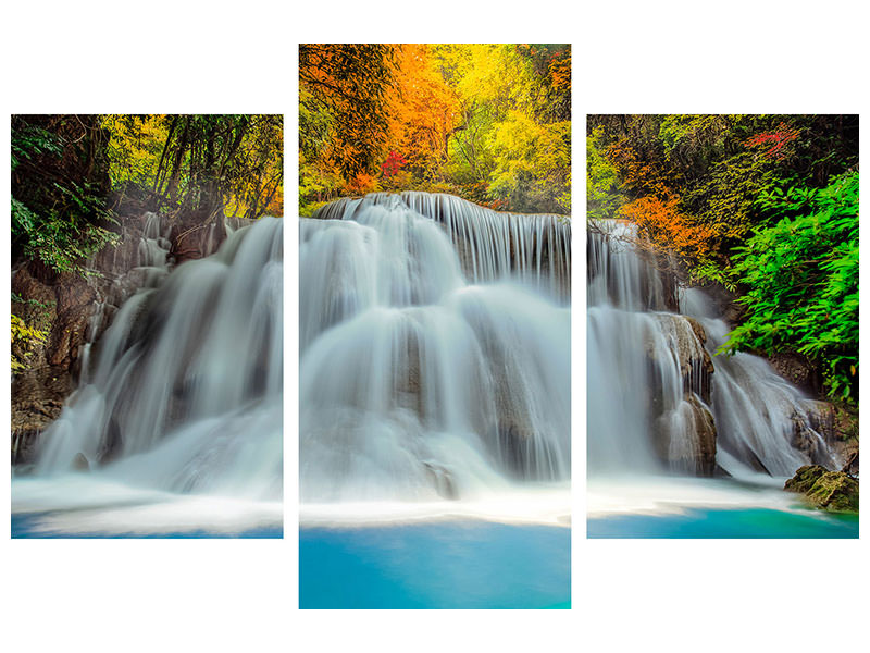 Modern 3 Piece Canvas Print Falling Water