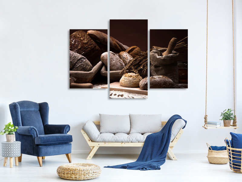 Modern 3 Piece Canvas Print Bread Bakery