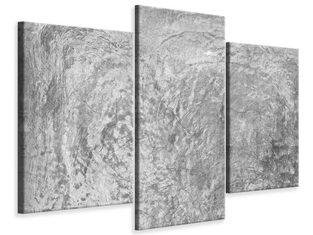 Modern 3 Piece Canvas Print Wipe Technique In Gray