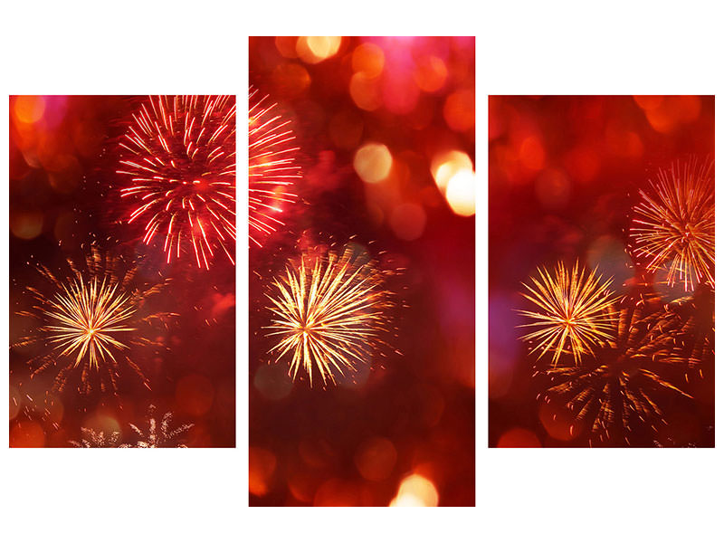 Modern 3 Piece Canvas Print Colorful Fireworks