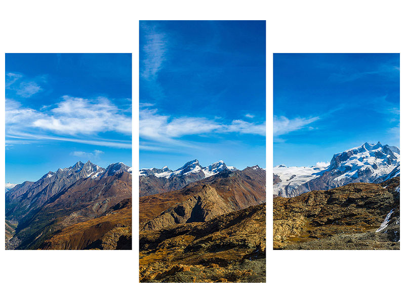 Modern 3 Piece Canvas Print Swiss Alps In Spring