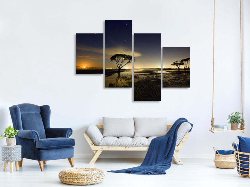 Modern 4 Piece Canvas Print Moonrise