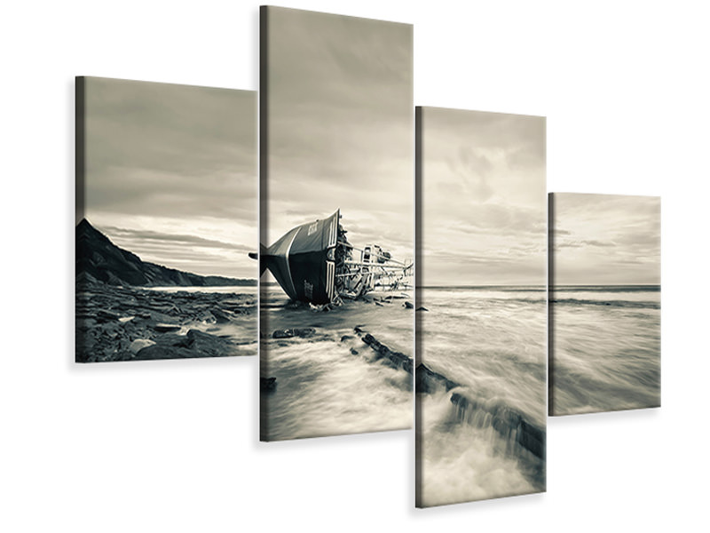 Modern 4 Piece Canvas Print Defeated By The Sea