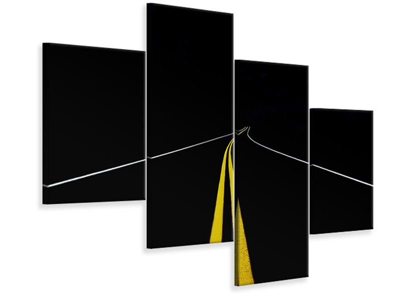 Modern 4 Piece Canvas Print The Road To Nowhere