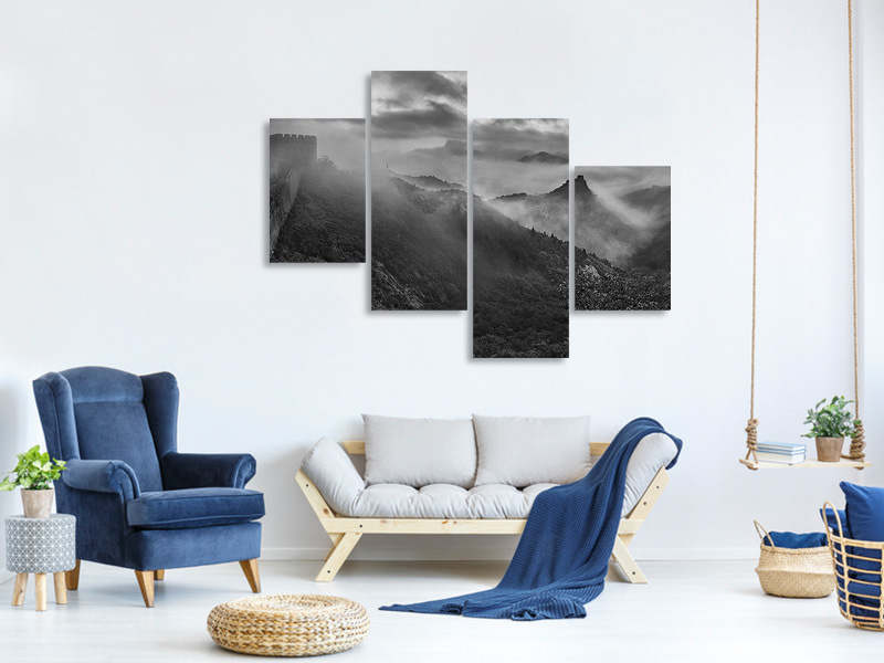 Tableau sur Toile en 4 parties moderne Misty Morning At Great Wall