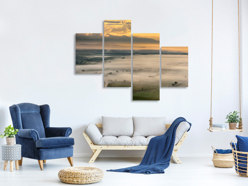 Modern 4 Piece Canvas Print Untitled IV